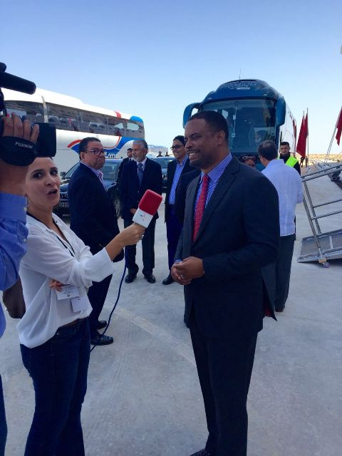 Minister of Foreign Affairs in St. Kitts and Nevis Hon. Mark Brantley speaking with the media in Morocco