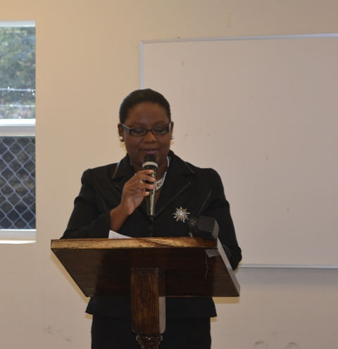 Coordinator of the Department of Youth and Sports Zahnella Claxton delivering remarks at the opening ceremony of the Poetry Writing Workshop on March 22, 2016 at the Nevis Disaster Management Office Conference Room at Long Point