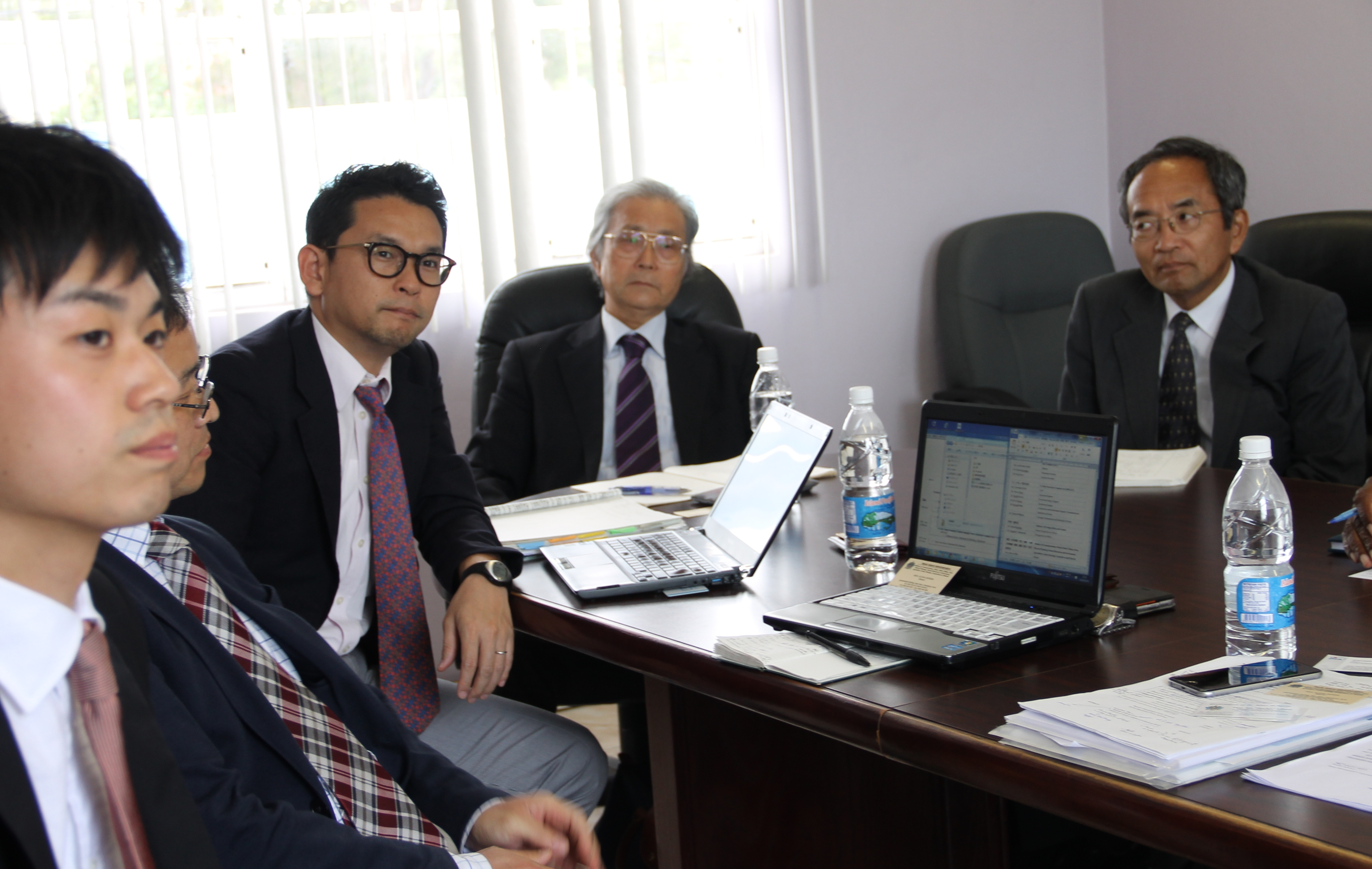 Other members of the Japan International Corporation Agency six-member team during a meeting with Minister responsible for Energy, Natural Resources and Public Utilities on Nevis Hon. Alexis Jeffers at the Nevis Island Administration conference room in Charlestown on March 01, 2016