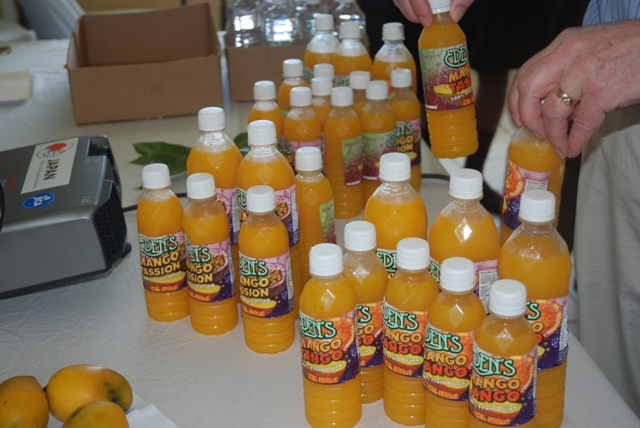 A variety of mango-based juices on display at the Ministry of Agriculture's conference room at Prospect during the closing ceremony for a recent Mango Value Addition Training Workshop at the Agro Processing Unit on Nevis facilitated by the Inter-American Institute for Cooperation on Agriculture and the Departments of Agriculture on St. Kitts and Nevis