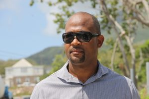 Raoul Pemberton, Director of the Public Works Department in Nevis, on site at the Hanley's Road Rehabilitation Project on February 29, 2016