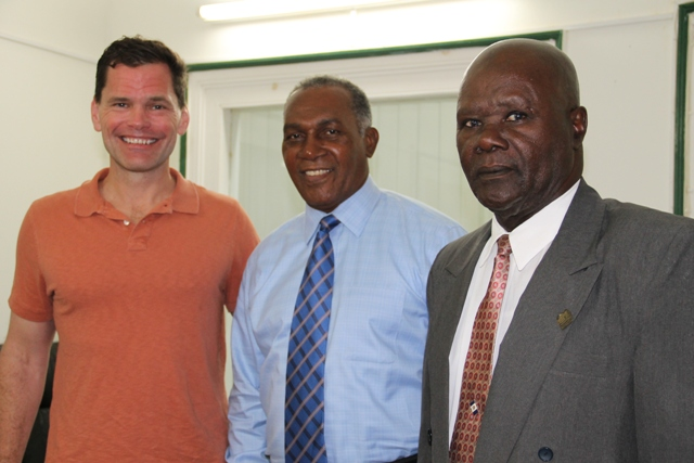 (L-R) Mr. Grier Martin of the North Carolina House of Representatives, 34th District, Premier of Nevis Hon. Vance Amory and President of the Nevis Island Assembly Hon. Farrel Smithen following a meeting at the Nevis Island Administration's offices at Bath Hotel on March 08, 2016