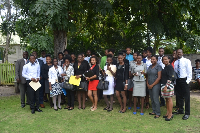 Members of the Nevis Branch Youth Parliamentary Association with President of Nevis Island Assembly Hon. Farrell Smithen and their teachers following their mock sitting to overserve Commonwealth Day at the Nevis Island Assembly at Hamilton House on March 14 2016