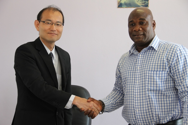 Minister responsible for Energy, Natural Resources and Public Utilities on Nevis Hon. Alexis Jeffers with Ogawa Tadayuki Senior Advisor (Energy and Power Sector) Professional Engineer at the Japan International Corporation Agency at the Nevis Island Administration conference room in Charlestown on March 01, 2016