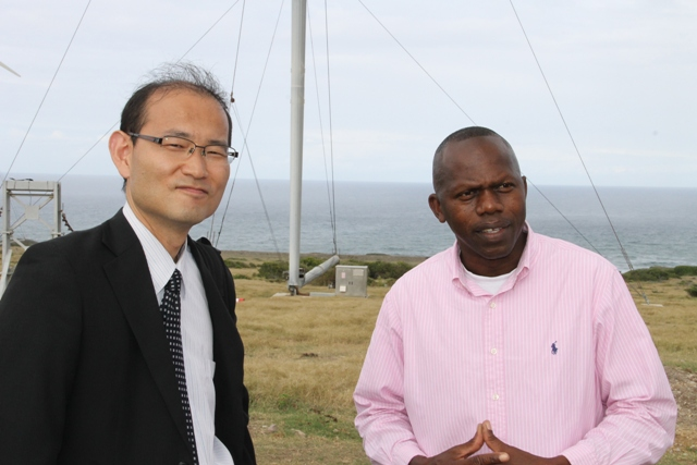 (L-R) Ogawa Tadayuki Senior Advisor (Energy and Power Sector) Professional Engineer and Jervan Swanston Acting General Manager of Nevis Electricity Company Ltd. (NEVLEC)