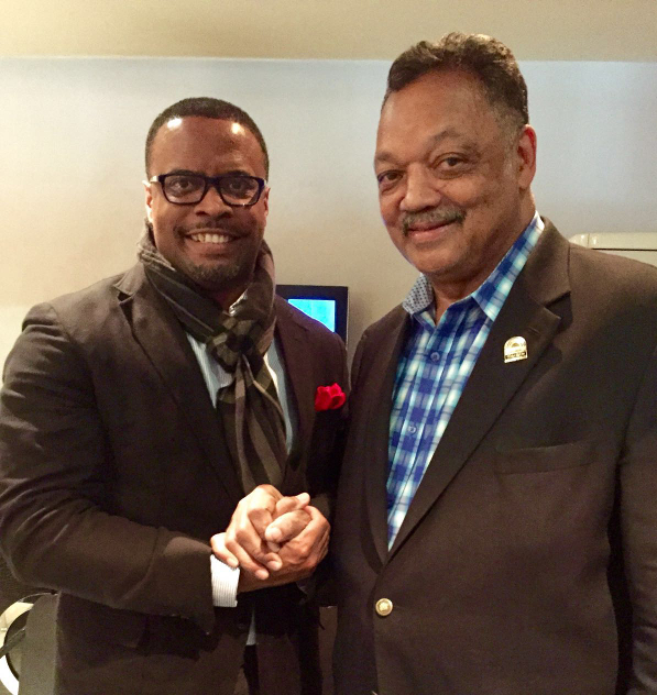 Foreign Affairs Minister of St. Kitts and Nevis Hon. Mark Brantley with United States Civil Rights Leader Rev. Jesse Jackson at an informal meeting ahead of the Crans Montana Forum in Morocco