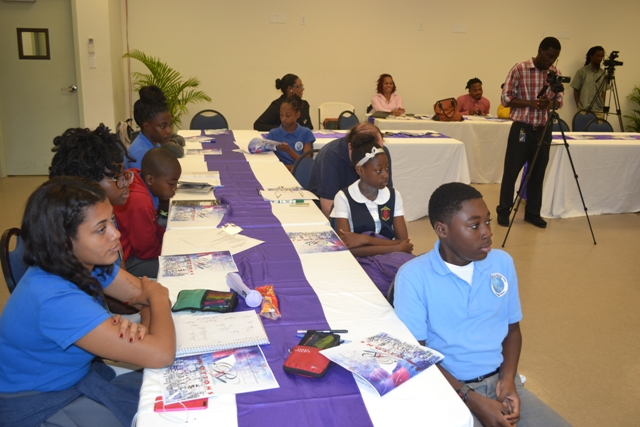 Participants of the Poetry Writing Workshop hosted by Department of Youth and Sports at the Nevis Disaster Management Office conference room at Long Point on March 21 2016