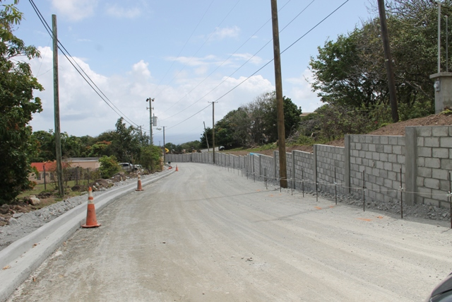 Retaining walls lining a section of Hanley's Road on February 29, 2016, in the second phase of Nevis Island Administration's Hanley's Road Rehabilitation Project