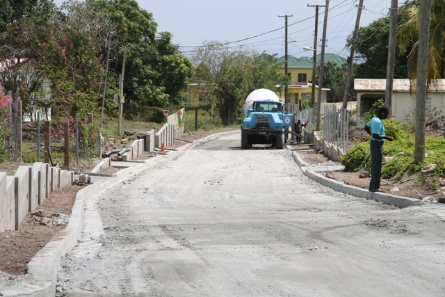 A section of Hanley's Road on February 29, 2016, ready for the first asphalt paving in the second phase of the Nevis Island Administration's Hanley's Road Rehabilitation Project