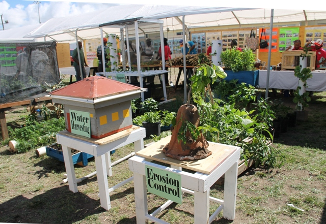 Exhibits on Water Harvesting and Erosion Control on display at the 22nd Ministry of Agriculture Open Day at the Villa Grounds in Charlestown on March 17, 2016