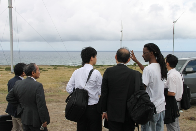 A team from the Japan International Cooperation Agency touring the WindWatt wind farm at Maddens on March 01, 2016