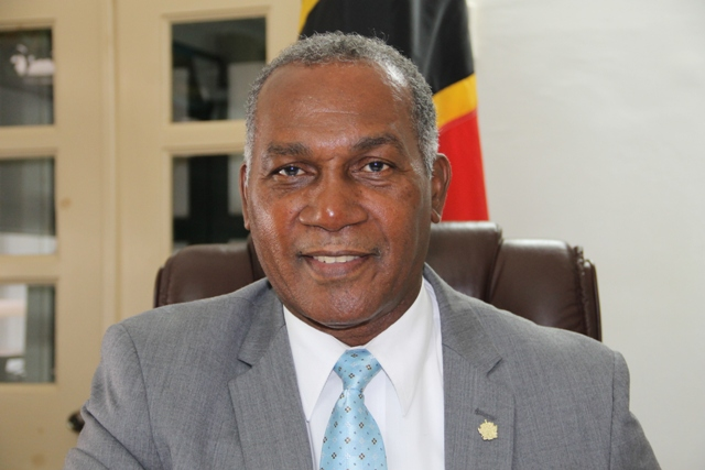 Premier of Nevis and Minister of Education Hon. Vance Amory at his Bath Hotel office on April 11, 2016
