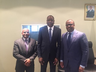 (l-r) Minister of Tourism, International Trade et al, Senegal's Foreign Minister Mankeur Ndiaye and Minister of Foreign Affairs in St. Kitts and Nevis Hon. Mark Brantley in Senegal