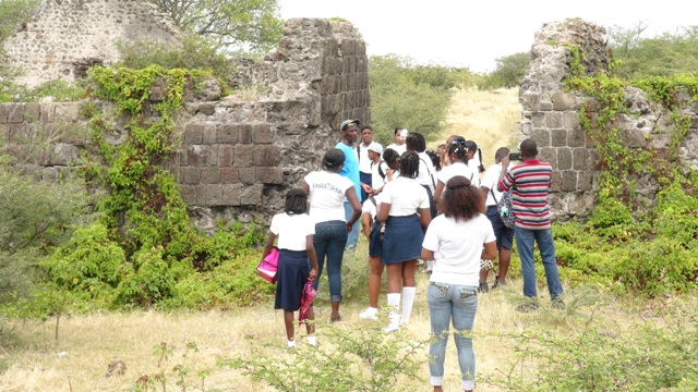 Students of Nevis Academy at Fort Charles on a tour organised by the Ministry of Tourism as part of its Exposition Nevis to teach them about the history, flora and fauna of Nevis, on April 18, 2016