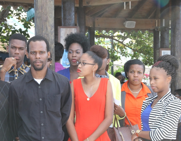 Another section of a group of Nevis youths at the Charlestown Pier on April 04, 2016, moments before their departure for St. Kitts to attend a forum as part of Diplomatic Week 2016