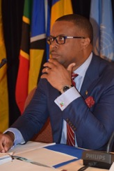 Minister of Foreign Affairs and Civil Aviation in St. Kitts and Nevis Hon. Mark Brantley, the new chairman of the Caribbean Development Cooperation Committee (CDCC) at the 26th session of the CDCC at the St. Kitts Marriott Resort in Basseterre on April 22, 2016