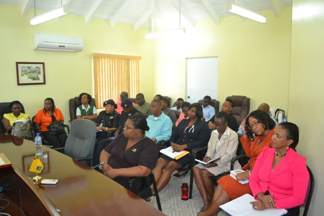 Persons from various government sectors in the Nevis Island Administration at a meeting with representatives from the Ministry of International Trade, Industry, Commerce and Consumer Affairs in St. Kitts and in Nevis at the Ministry of Finance conference room in Charlestown on April 05, 2016