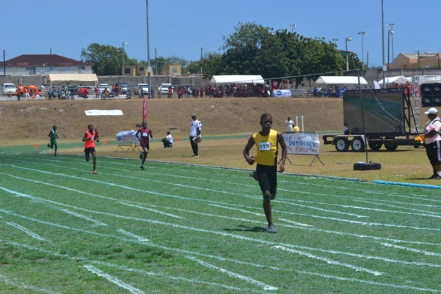 Athletes from Primary Schools on Nevis taking part in a race at the 24th Gulf Insurance Inter-Primary Schools Championship on March 30, 2016, at the Elquemedo T. Willet Park