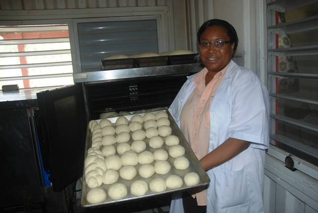 Vermaran Extavour, Regional Project Coordinator at the FAO, cassava development expert and facilitator of the Food and Agriculture Organisation's Bread Making Using Wet Cassava workshop during demonstrations on May 18, 2016