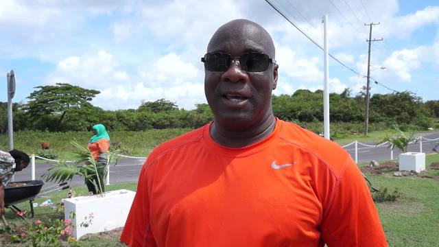 Minister of Lands and Housing on Nevis Hon. Alexis Jeffers at Pinney's on May 14, 2016