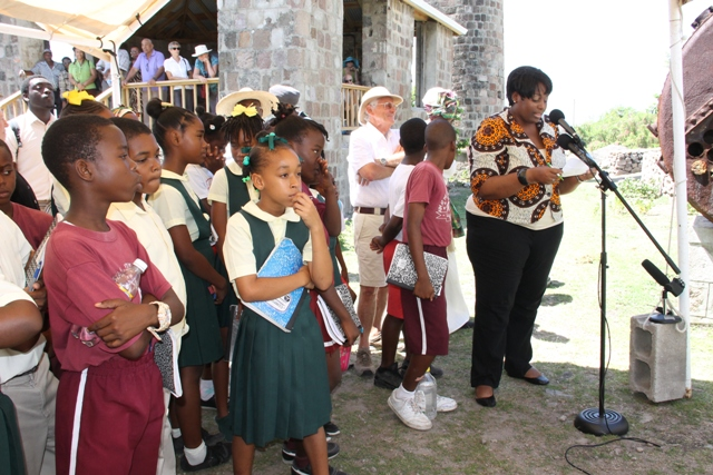 Product Development Officer at the Ministry of Tourism, Nicole Liburd delivering remarks at the opening ceremony to mark International Museum Day at New River Estate on May 18, 2016, hosted by the Nevis Historical and Conservation Society and the Ministries of Tourism and Agriculture