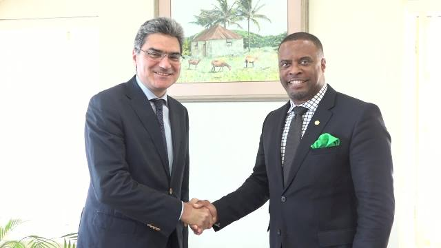 (l-r) Special Envoy of the Republic of Italy for Caribbean States, His Excellency Paolo Sepi and Minister of Foreign Affairs in St. Kitts and Nevis Hon. Mark Brantley at the Nevis Island Administration's office at Bath Hotel on May 05, 2016