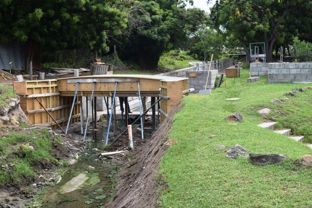 A walkway over the Bath Stream under construction in the third phase of the Bath Stream Rehabilitation Project