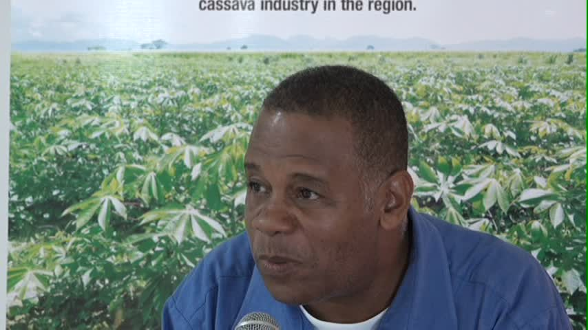 Permanent Secretary in the Ministry of Agriculture Eric Evelyn delivering remarks at the closing ceremony of the Food and Agriculture Organisation's Bread Making Using Wet Cassava workshop at the closing ceremony at the Red Cross conference room on May 18, 2016