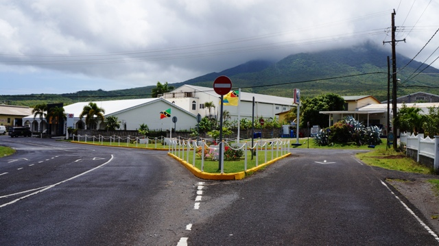 An enhanced area of road at a key intersection in Pinney's leading to Charlestown on May 17, 2016, is a collaborative effort of the Nevis Housing and Land Development Corporation and TDC