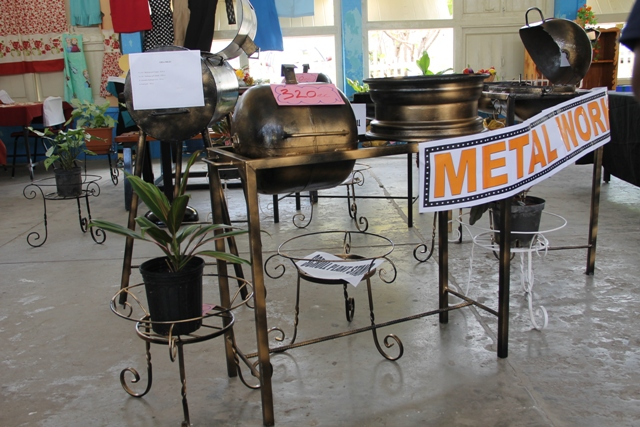 Metal works made by students of the of the Charlestown Secondary School Multi-Purpose Centre on display at the school's auditorium at their Technology and Art Exhibition on May 26, 2016