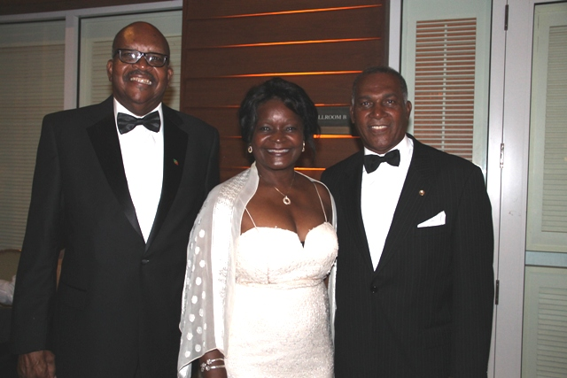 Governor General of St. Kitts and Nevis His Excellency Sir Tapley Seaton QC (left) with Premier of Nevis Hon. Vance Amory and his wife Mrs. Verni Amory at the Ministry of Tourism's recent awards ceremony and gala hosted by the Ministry of Tourism at the Four Seasons Resort