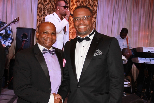 (L-R) Ministers of Tourism in St. Kitts and Nevis Hon. Lindsay Grant and Hon. Mark Brantley respectively at the Ministry of Tourism's recent awards ceremony and gala hosted by the Ministry of Tourism in Nevis at the Four Seasons Resort