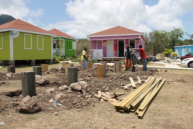 Ongoing work on new units at the Nevisian Artisan Village next to the Nevis Craft House at Pinney's on June 16, 2016, with newly constructed washrooms at the extreme right