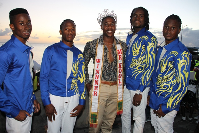Contestants of the 2016 Mr. Kool Contest with reigning Mr. Kool, at the launch of Culturama 42 at the Charlestown Waterfront on June 17, 2016