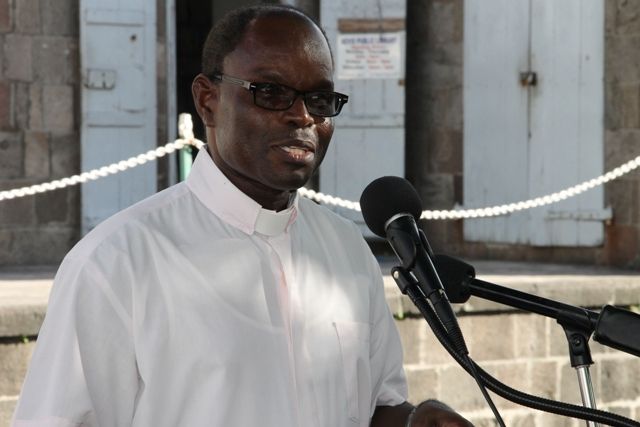 President of the Nevis Christian Council Rev. Telford D. Matthew who served as Liturgist at the council's prayer service for God's protection during the 2016 hurricane season at the War Memorial Square in Charlestown on June 17, 2016