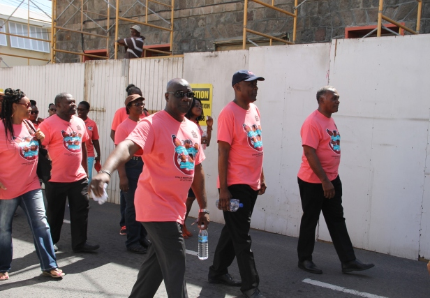 (l-r) Hon. Alexis Jeffers, Cabinet Secretary Stedmon Tross and Premier of Nevis and Minister of Education Hon. Vance Amory at the 32nd Child Month Parade in Charlestown on June 10, 2016