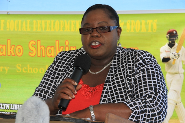 Junior Minister in the Ministry of Youth and Sports Hon. Hazel Brandy-Williams delivering remarks at the opening ceremony of the Runako Shakir Morton Primary School Cricket League at the Cotton Ground Playfield on June 23, 2016