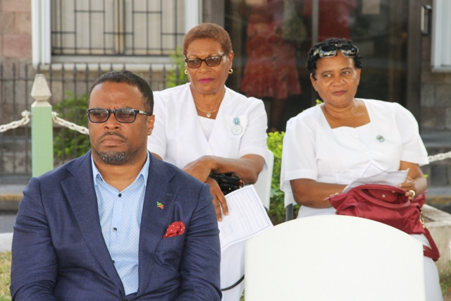 Deputy Premier of Nevis Hon. Mark Brantley (first row) with nurses from the Mental Health Unit at the Nevis Christian Council's prayer service for God's protection during the 2016 hurricane season at the War Memorial Square in Charlestown on June 17, 2016
