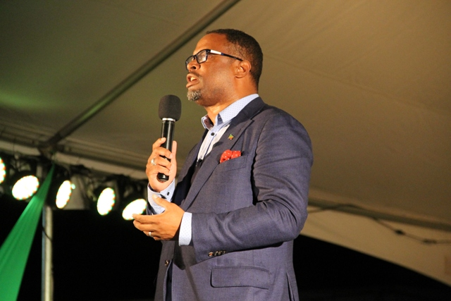 Deputy Premier of Nevis and Minister of Culture Hon. Mark Brantley officially launching Culturama 42 at the Charlestown Waterfront on June 17, 2016