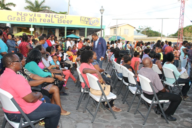 Deputy Premier of Nevis and Minister of Culture Hon. Mark Brantley mingles with attendees at the official launch of Culturama 42 at the Charlestown Waterfront on June 17, 2016