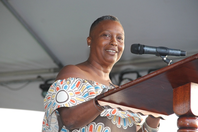 Chairperson of the Nevis Culturama Committee Deborah Tyrell delivering remarks at the launch of Culturama 42 at the Charlestown Waterfront on June 17, 2016