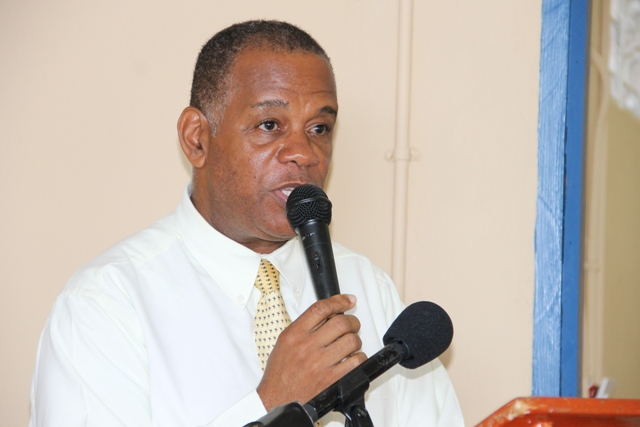 Permanent Secretary in the Ministry of Agriculture Eric Evelyn delivering remarks on behalf of Deputy Premier and Minister of Tourism Hon. Mark Brantley on June 27, 2016, at the opening ceremony of the Gingerland Community-Based Tourism Workshop at the Hardtimes Conference Centre in Gingerland