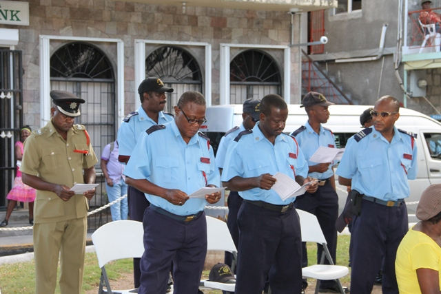 A Contingent from the St. Kitts and Nevis Fire and Rescue Services at the Nevis Christian Council's prayer service for God's protection during the 2016 hurricane season at the Memorial Square in Charlestown on June 17, 2016