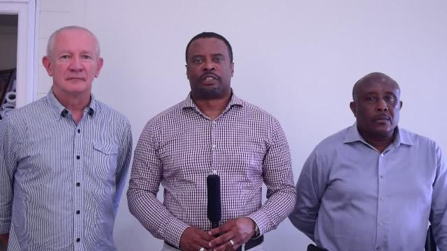 (L-r) Richard Pavitt, owner of Blues label Nugene Records and one of the architects of the Nevis Blues Festival, Deputy Premier of Nevis and Minister of Tourism Hon. Mark Brantley and Permanent Secretary in the Ministry of Tourism Mr. Carl Williams