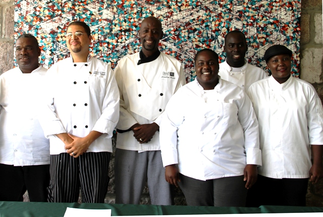 Some of the local chefs participating in the Nevis Tourism Authority's third annual Nevis Mango and Food Festival (l-r) Silvester Wallace, Michael Henville, Llewellyn Clarke, Berecia Stapleton, Renaldo Mills and Paulette Frederick during the media launch at the Montpelier Plantation and Beach on June 09, 2016