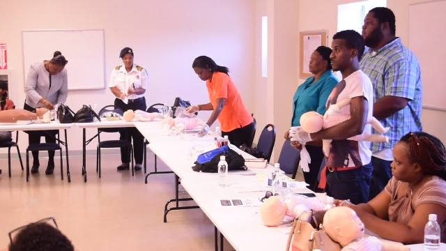 A section of the 20 Nevis Island Administration workers attending the Nevis Disaster Management Department's First Aid and Cardiopulmonary resuscitation (CPR) training on June 15, 2016, in collaboration with the Red Cross at the department's offices at Long Point