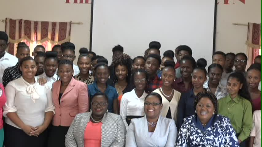 A section of participants at the Department of Youth and Sports' 13th annual Summer Job Attachment training workshop on June 20, 2016, at the Red Cross Headquarters conference room. Seated (l-r) are Junior Minister in the Ministry of Social Development Hon. Hazel Brandy-Williams, Zahnela Claxton, Co-ordinator of Youth Development and Assistant Secretary in the Ministry of Social Development Michelle Liburd