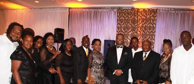 Deputy Premier of Nevis and Minister of Tourism Hon. Mark Brantley (fifth from right) and Permanent Secretary in the Ministry of Tourism Carl Williams (third from right) and staff at their recent awards ceremony and gala at the Four Seasons Resort