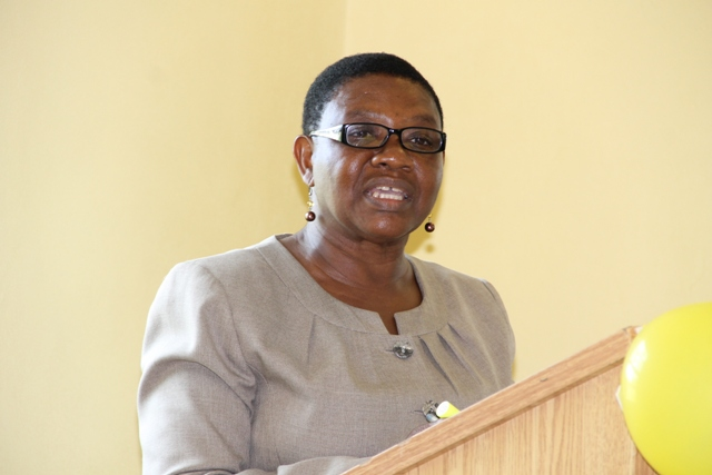 Palsy Wilkin, Principal Education Officer at the Ministry of Education, Nevis Island Administration, addressing prospective teachers at the start of the Department of Education's 2016 Prospective Teachers Course at Pinney's on June 20, 2016