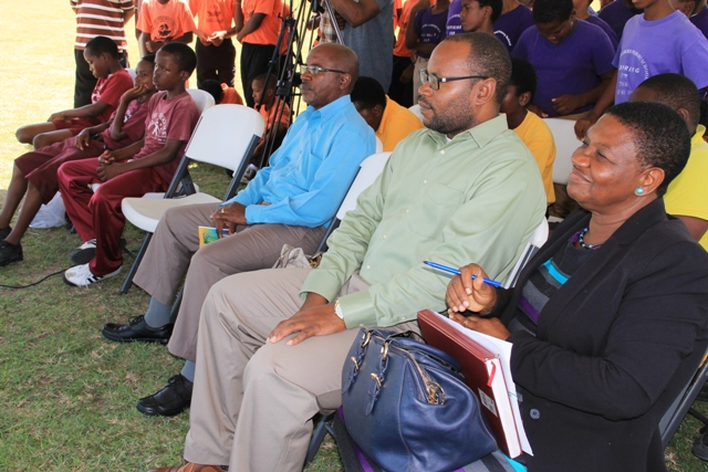 (l-r) Rev. Othniel Daly; Jamir Claxton, Director of the Department of Sports; and Palsy Wilkin, Principal Education Officer in the Ministry of Education